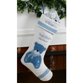 custom Christmas stockings Canada-Baby's First Personalized Christmas Stocking Boy