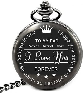 First Father's Day Gifts Canada-Best Dad Gifts for Dad Fathers Day Birthday, Personalized Pocket Watch with Chain (to My Dad)