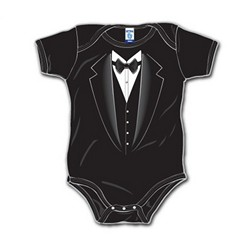 Ring Bearer Gifts Canada-Black Tuxedo Onesie Shirt - Available Sz. 3M To 24 M