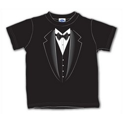 Ring Bearer Gifts Canada-Black Tuxedo Toddler T-Shirt - Available Sz. 2,3,4