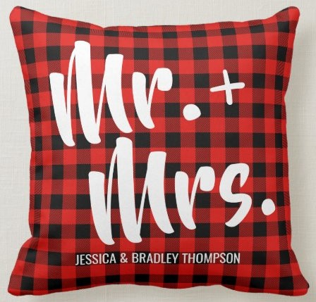 Buffalo Plaid Tartan Mr. and Mrs. Wedding Throw Pillow