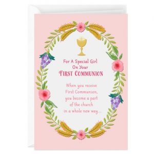 Hallmark Canada First Communion Gifts-Chalice and Wreath of Flowers First Communion Card for Girl