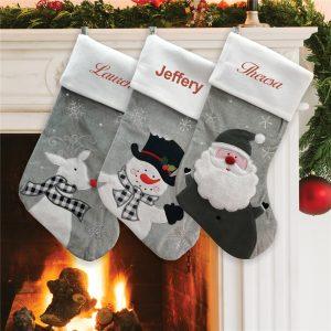 custom Christmas stockings Canada-Christmas Character Grey Fleece Personalized Stockings