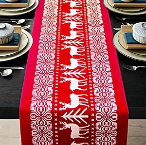 Cool Christmas Gifts Canada-Christmas Table Runners Printed Linen Table Lines for Xmas Holiday Season Home Table Christmas Decoration 12 x 108