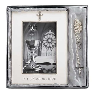 Communion Frame & Rosary Gift Set