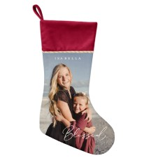 custom Christmas stockings Canada-Contemporary Blessed Script Christmas Stocking