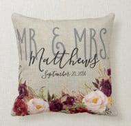 Custom Burgundy Floral Mr and Mrs Wedding Keepsake Throw Pillow