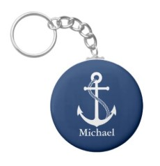 Custom Name Nautical Navy Blue with White Anchor Keychain