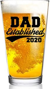First Father's Day Gifts Canada-Dad Established 2020 Funny Beer Glass -16 oz Quality Glass