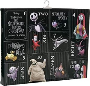 Cool Christmas Gifts Canada-Disney Nightmare Before Christmas Men's 12 Days Advent Box, Assorted Dark, Fits Sock Size 10-13 Fits Shoe Size 6.5-12.5 (Men)
