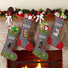 custom Christmas stockings Canada-Dog Breed Puppy Stocking by Linda Picken©_