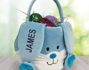 Personalized Easter Baskets Canada-Embroidered Personalized Easter Bunny Basket