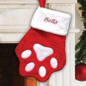 custom christmas stockings canada-Embroidered Red Paw Christmas Stocking
