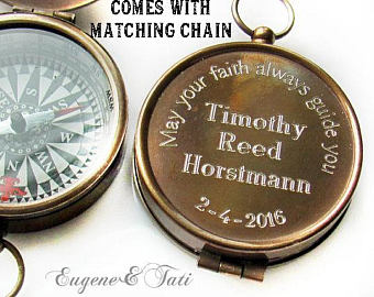 Engraved Custom Compass -  Unique Confirmation Gifts for Boys