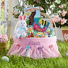 Personalized Easter Baskets Canada-Fancy Flowers Round Wicker Basket