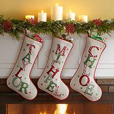 custom Christmas stockings Canada-Festive Name Christmas Stocking