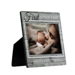First Father's Day Gifts Canada-First Father's Day Photo Rustic Gray Wood Plaque