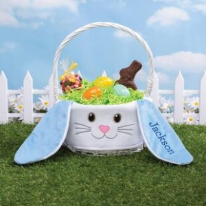 Personalized Easter Baskets Canada-Floppy Bunny Personalized Wicker-Fabric Basket