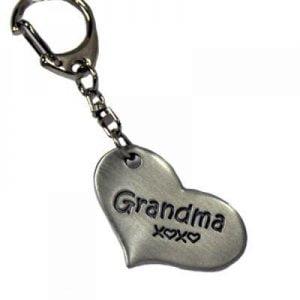 Grandma Gifts Canada-GRANDMA HUGS PEWTER KEYCHAIN