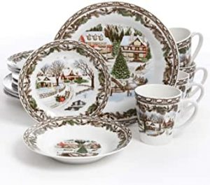 Cool Christmas Gifts Canada-Gibson Home Christmas Toile 16 Piece Dinnerware Set, Multicolor