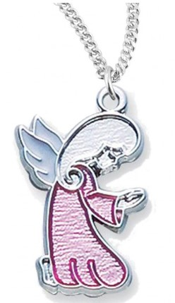 Girl's Pink Enamel Praying Angel Pendant