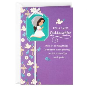 Hallmark Canada First Communion Gifts-Girl in Veil First Communion Religious Card for Goddaughter