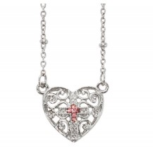 Girls Open-Cut Heart Necklace with Pink Cross