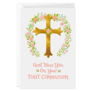 Hallmark Canada First Communion Gifts-Gold Cross and Pink Flower Wreath First Communion Card