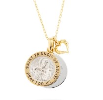 Gold Sterling Silver St. Francis Necklace