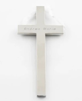 Hanging Cross with White Ribbon
