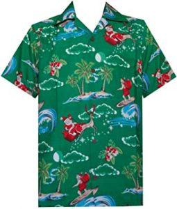 Cool Christmas Gifts Canada-Hawaiian Shirt Mens Christmas Santa Claus Party Aloha Holiday Beach