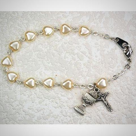 Heart First Communion Bracelet