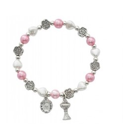 Heart and Metal Flowers First Communion Stretch Bracelets