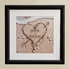 Heart in Sand Framed Print