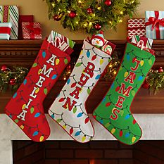 custom Christmas stockings Canada-Holiday Lights Stocking