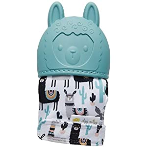 Toddler Gifts Canada-Itzy Ritzy Silicone Teething Mitt - Soothing Infant Teething Mitten with Adjustable Strap, Crinkle Sound & Textured Silicone to Soothe sore & Swollen Gums, Blush Unicorn