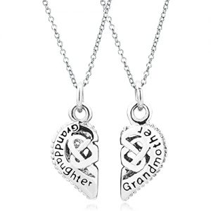 Grandma Gifts Canada-Jewelry 2 Pcs Heart Love Grandmother Granddaughter Two Chains Pendant Necklace Charms Beads Gifts