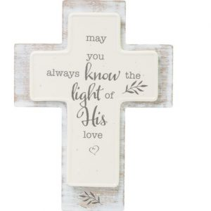 Hallmark Canada First Communion Gifts-Light of His Love Wood Cross Sign, 6.5 inches