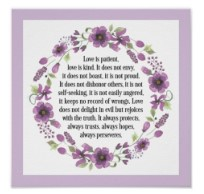 Love is Patient Wedding Bible Love Quote Poster