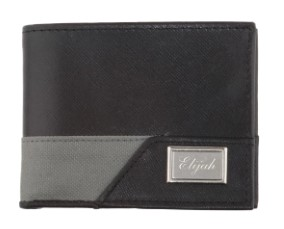 Men's Sporty Leather RFID Wallet –Black and Grey