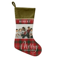 custom Christmas stockings Canada-Merry Christmas Plaid Christmas Stocking