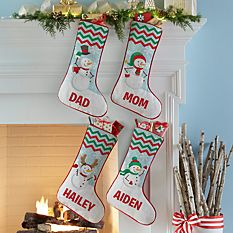 custom Christmas stockings Canada-Merry Snowman Family Stocking_