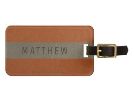 Modern Faux Leather Orange Personalized Luggage Tag