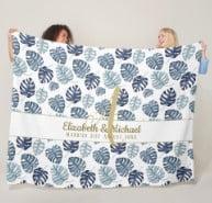 Monogram Azure Blue Tropical Leaves Gold Newlyweds Fleece Blanket
