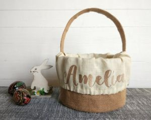 Personalized Easter Baskets Canada-Neutral beige personalized Easter basket.