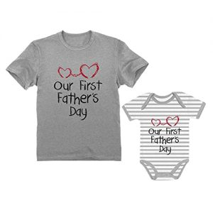 First Father's Day Gifts Canada-Our First Father's Day Dad & Baby Matching Set Infant Bodysuit & Men's T-Shirt-Our First Father's Day Dad & Baby Matching Set Infant Bodysuit & Men's T-Shirt