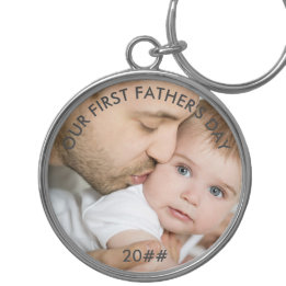 First Father's Day Gifts Canada-Our First Fathers Day - New Dad and Baby Photo Keychain