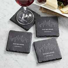 Cool Christmas Gifts Canada-Our Home Skyline Slate Coasters