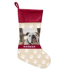 custom Christmas stockings Canada-Paw Print Christmas Stocking