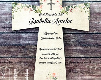 Personalized Baptism Cross for Girls